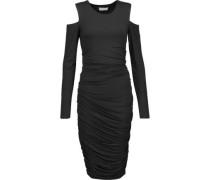 Cutout ruched stretch-jersey dress
