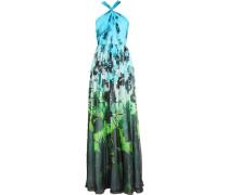 Printed Silk-chiffon Gown Türkis