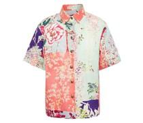 Hemd aus Stretch-baumwollpopeline mit Floralem Print in Patchwork-optik