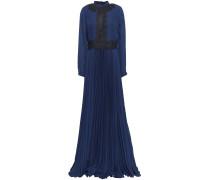 Guipure Lace-appliquéd Pleated Crepe Gown