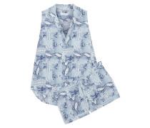 Landon Snake-print Washed-silk Pajama Set Blau
