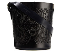 Ligo Laser-cut Leather Bucket Bag