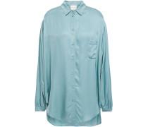 Gathered Washed-satin Shirt