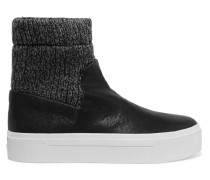 Beverly Knitted And Textured-leather High-top Sneakers Schwarz