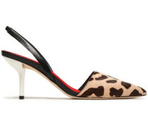 Leather-trimmed printed calf hair slingback pumps