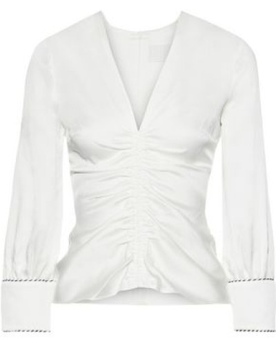 Ruched Satin-crepe Blouse Ivory