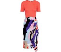 Crepe-paneled Draped Printed Silk-blend Twill Dress