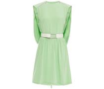 Cape-effect Belted Silk Mini Dress