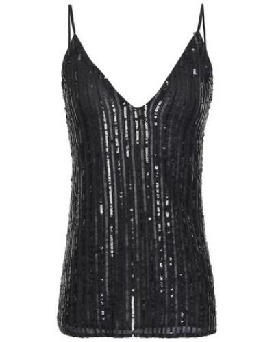 Gabriella Sequin-embellished Georgette Camisole Black