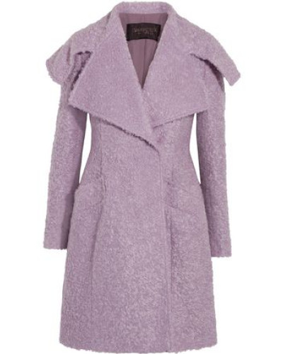 Double-breasted Mohair-blend Bouclé Coat Lilac