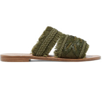 Barry Embellished Frayed Jute Slides