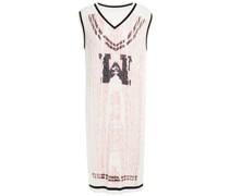 Bedrucktes Kleid aus Baumwolle mit Zopfstrickmuster