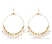 Gold-tone Bead Hoop Earrings Transparent