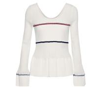 Ribbed Knit-paneled Shirred Stretch-cotton Peplum Top