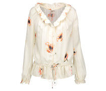 Ruffled Printed Silk-crepe Blouse Ecru