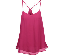 Ruffled Silk Top Magenta