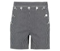 Buttoned Striped Denim Shorts Grau