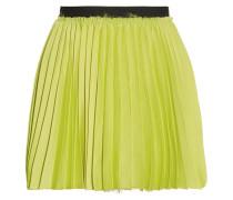 Pleated Satin Mini Skirt Zitronengelb