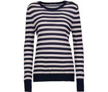 Buttoned striped silk and cashmere-blend sweater