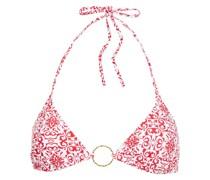 Miami Bedrucktes Triangel-bikini-oberteil mit Ringverzierungen