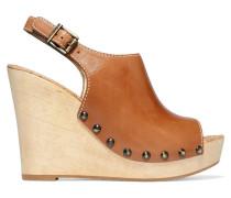 Camilla Leather Wedge Sandals Braun