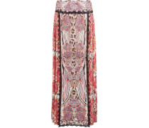 Pleated Printed Chiffon Maxi Skirt Mehrfarbig