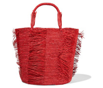 Woman Caramelo Fringed Woven Toquilla Straw Tote Red