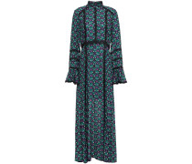 Guipure Lace-trimmed Printed Gauze Maxi Dress