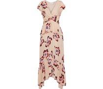 Zadie Twist-front Floral-print Silk Crepe De Chine Midi Dress