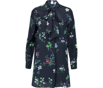 Claudia Floral-print Pussy-bow Silk-georgette Blouse Navy