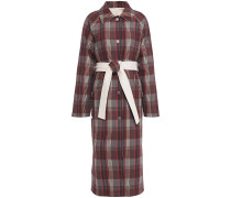 Reversible Belted Checked Cotton-twill Coat