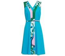 Belted Printed Satin-crepe Dress