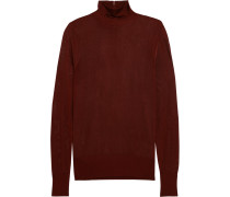 Open-knit Turtleneck Sweater Burgunder