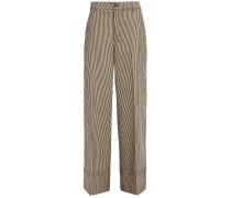 Striped Cotton-blend Wide-leg Pants