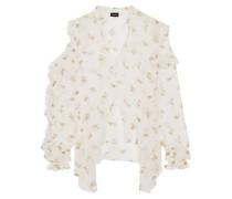 Lecce cutout ruffled floral-print silk-georgette blouse