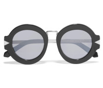 Round-frame Acetate And Silver-tone Mirrored Sunglasses Schwarz