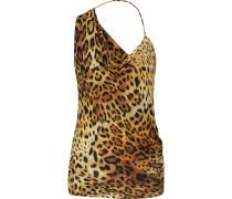 Draped Leopard-print Silk-chiffon Top