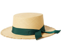 Woman Canvas-trimmed Frayed Toquilla Straw Panama Hat Forest Green