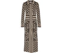 Jacquard-knit Merino Wool Coat Schwarz