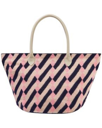 Leather-trimmed Printed Woven Tote Baby Pink Size --