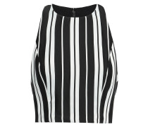 Cropped Striped Satin-twill Top