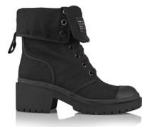 Cotton-canvas ankle  boots
