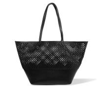 Brenna Laser-cut Textured-leather Tote Schwarz