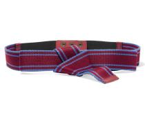 Leather-trimmed Striped Canvas Belt Bordeaux