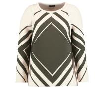 Diamonds Paneled Cotton Neoprene Sweater Creme