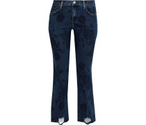 Selena Distressed Printed Mid-rise Straight-leg Jeans