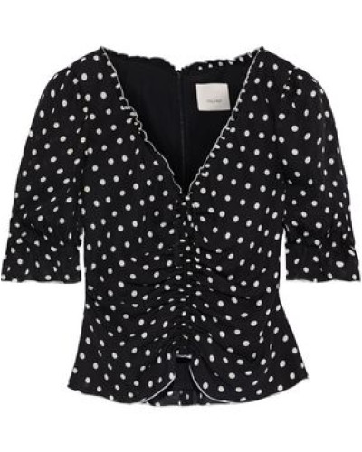 Woman Kimberly Cropped Ruched Polka-dot Silk-georgette Blouse Black