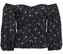 Woman Off-the-shoulder Floral-print Stretch-silk Satin Top Black