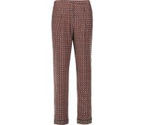 Printed Silk Straight-leg Pants Mehrfarbig