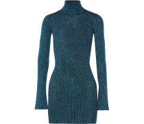 Errandi Metallic Ribbed-knit Turtleneck Sweater Rauchblau